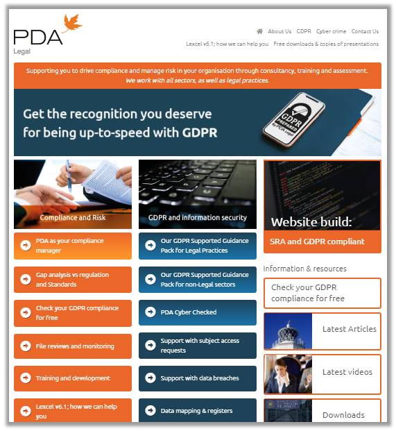 E-Marketing: Websites: PDA Legal